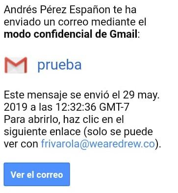 Modo confidencial de Gmail con contraseña SMS