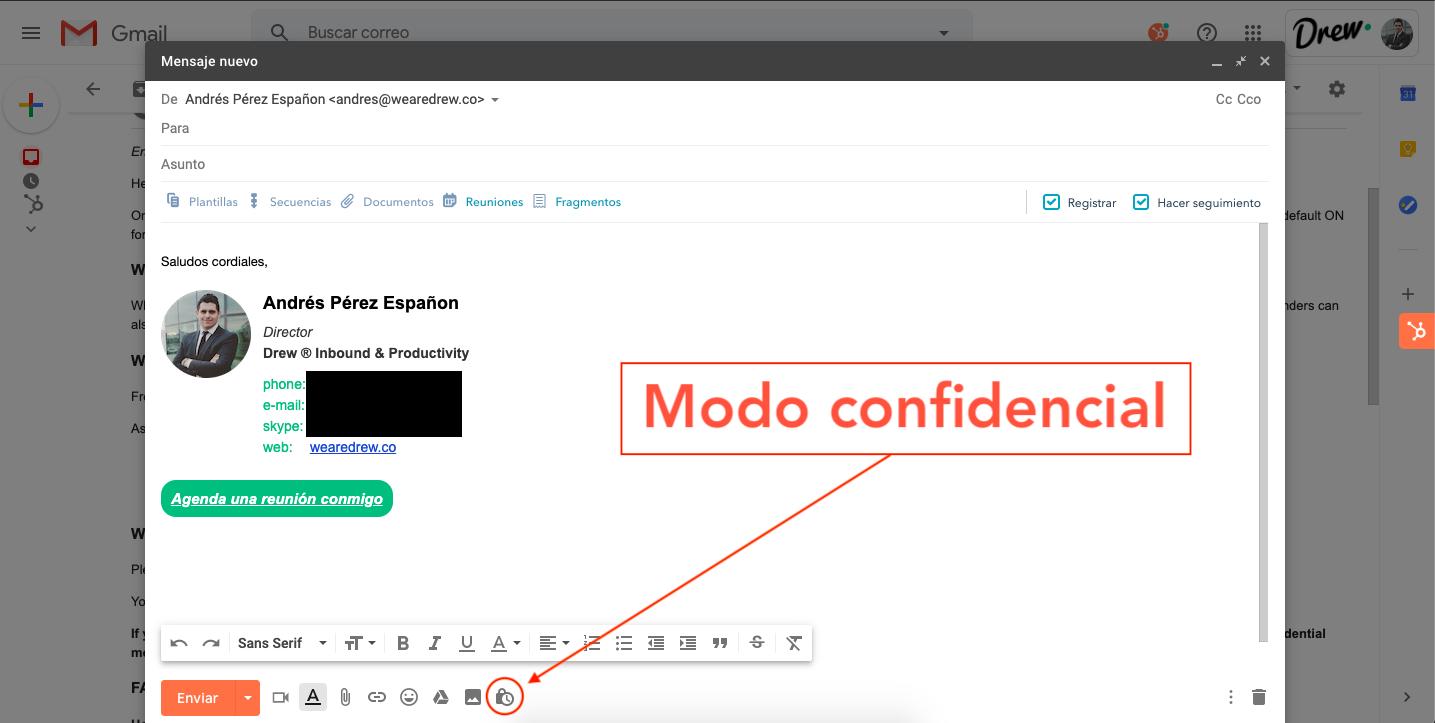 Cómo activar el modo confidencial en Gmail