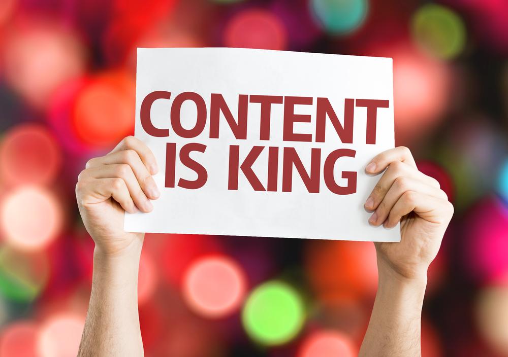 Cartel declarando: el contenido es el rey.