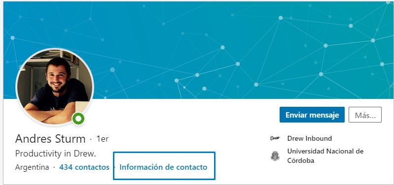 Captura de pantalla de un perfil de linkedin.